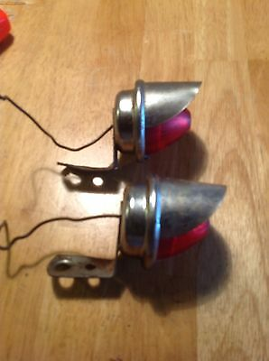 Red Tail Lights Bullet Motorcycle Harley Indian Hot Rod Rat Rod Steam Punk Decor
