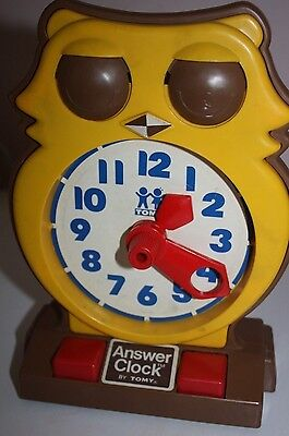 Original Vintage Retro 1975 TOMY Owl Answer Clock Learning Time Education Toy