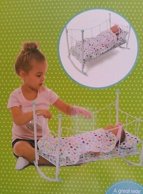 Dolls Cradle In Mint Green & White Comes With Bedding