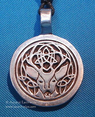 CERNUNNOS PENDANT PURE PEWTER WITH CORD 4 x 3 cm Wicca Pagan Witch Goth