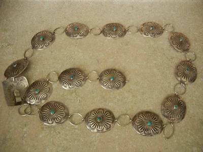 """Navajo Artisan Belt Sterling Silver 925 Turquoise Concho 77 grams 35"""""""