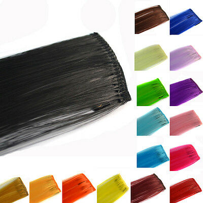 Colorful 1 Piece Funky Streak Clip in Human Hair Extensions Highlight Sliky New