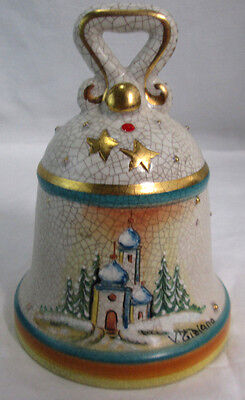 """Hand Painted Etched Christmas Bell Italy 1978-79 5.5"""" New Years 4"""" Dia. Ceramic"""