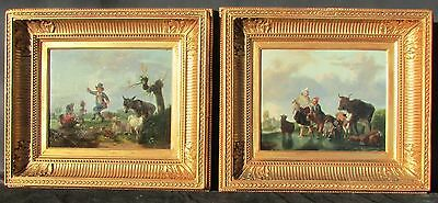 A Pair of Antique Early 19th c. Old Master School Paintings Genre Scenes.