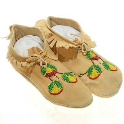 "Vintage Native American 10.75"" Sioux Indian Beaded Moccasins 1950's Sinew Sewn"