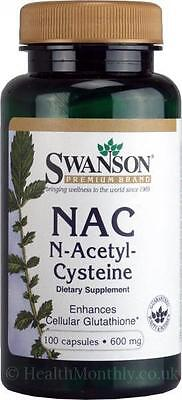NAC (N-Acetyl Cysteine) SWANSON 600MG x100 Capsules, HEALTHY LIVER / DETOX