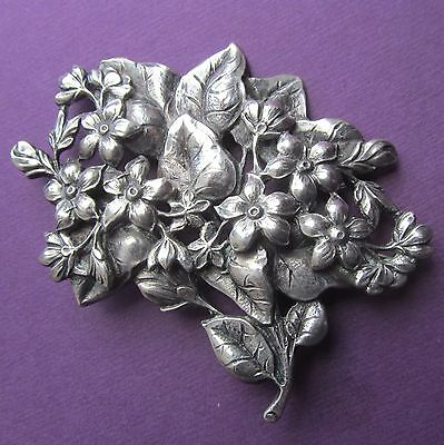 Guglielmo Cini Sterling Silver Flower Brooch Antique Floral Pin Jewelry