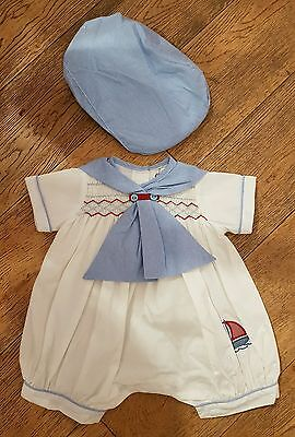 SALE boys couche tot smocked sailor romper 9-12 months BNWT spanish / romany