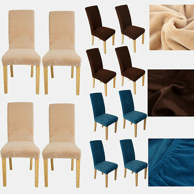 4PCs Short Dining Room Chair Covers Stretch Seat Slipcovers Removable Super Fit