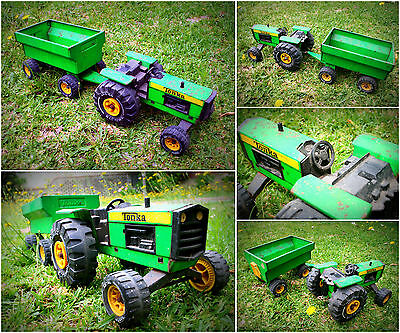 Vintage 1970's TONKA Tractor with Trailer Metal Toy