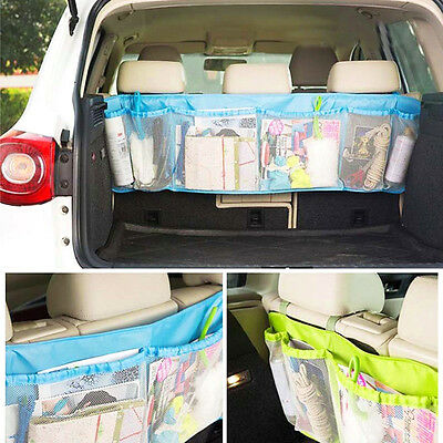Blue Car Seat Back Storage Car Trunk Organizer Vehicle Folding Luggage Mesh Bag