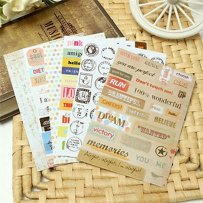 6x Retro DIY Calendar Paper Stickers for Scrapbooking Diary Planner Sticky MW