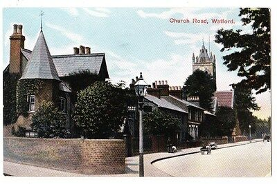 Early Postcard,Hertfordshire,Watford, Church Road, Old Houses,