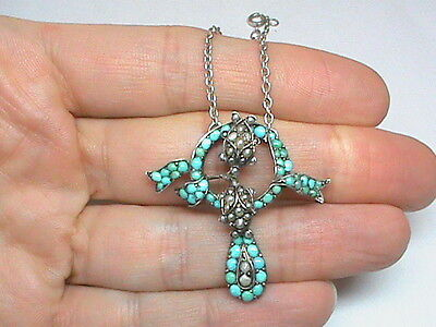 Antique Victorian Sterling Silver Turquoise Seed Pearl Necklace