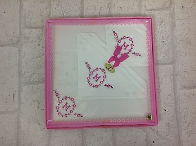 Vintage 1960's 3 Fine Embroidered Pink Monogrammed Initial 'M' Handkerchiefs