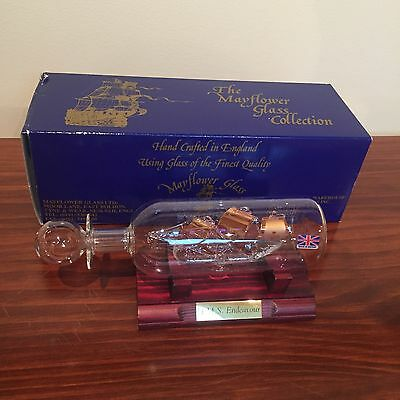 Mayflower Glass - H.M.S. Endeavour Ship in a Bottle w Box