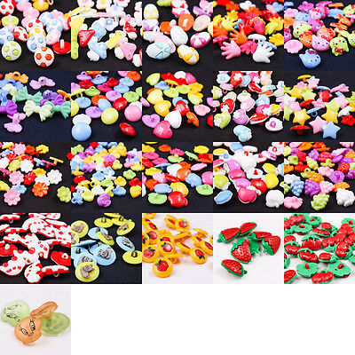 Lovely Mixed Colors Plastic Buttons Baby Kids Sewing Backhole Shank DIY Craft