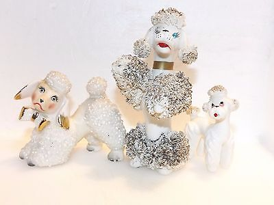 3 pc VINTAGE SPAGHETTI FRENCH POODLES MINIATURE FIGURINE JAPAN PORCELAIN Gold