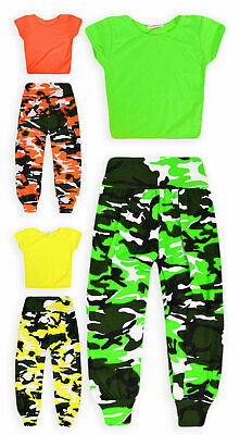 Girls Dance Set New Kids Neon Crop Top Camo Harem Pant Outfit Ages 7 - 13 Years