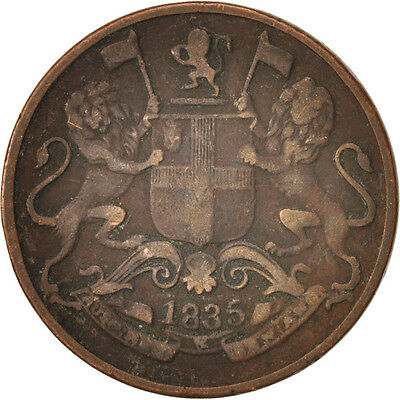 [#416645] INDIA-BRITISH, 1/4 Anna, 1835, Calcutta, VF(20-25), Copper, KM:446.2