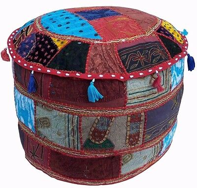 Indian Handmade Traditional Embroidered Patchwork Pouffe Footstool Cover 55x35cm