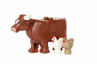 LEGO® City Farm Lot #7 - Brown Cow & 2 Chickens