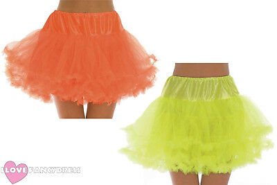 Short Net Underskirt Layered Tutu 80S Neon Rave Fancy Dress Costume Accessory