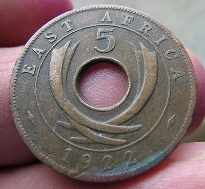 1922 East Africa 5 Cents King George V th