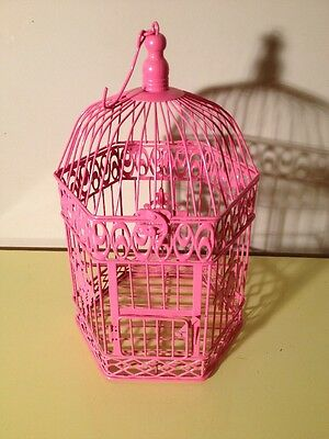 Metal Bird Cage Hanging Dome Top 6 Sided Coated Wire & Metal in Pink