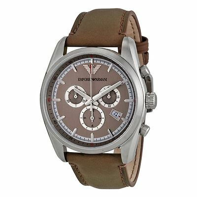 Emporio Armani Mens Chronograph Watch Brown Leather Strap Cream Dial AR6040