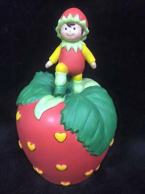 1993 Avon Strawberry Hearts Delight Porcelain Bell with Pixie Elf FREE SHIP USA!