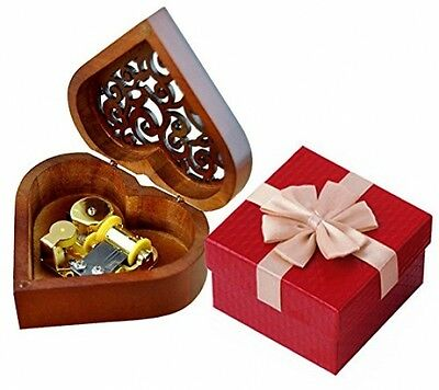 Vintage Music Box Heart Shape Wood Carved Mechanism Wind Up Musical Box Wooden
