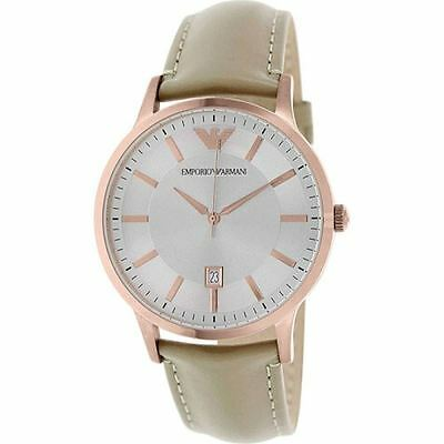Emporio Armani Mens Rose Gold Stainless Steel Leather Strap Silver Dial AR2464