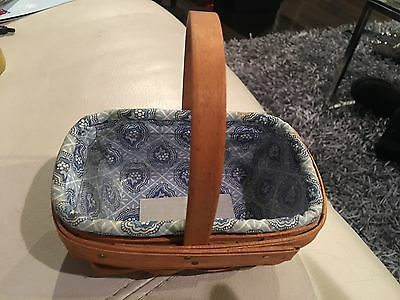Longaberger 2000 Parsley Booking Basket w/ liner and protector