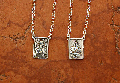 SSN159 CATHOLIC Scapular Sterling Silver Pendants are 9/16 inch on 25 in, chain