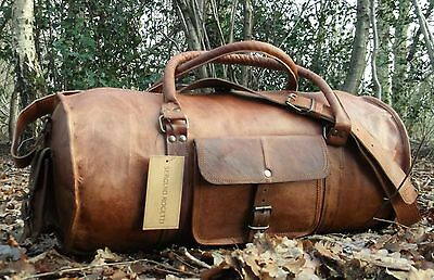 New Hand-Crafted Shabby Chic Travel Leather Weekend Bag Holdall Overnight Rustic