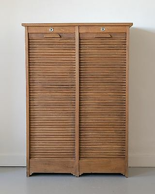 Vintage French Oak Tambour Double Filing Cabinet Storage