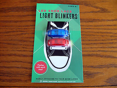 LED Light blinkers for sneakers, shoes, flashes red & blue attach shoe laces NEW