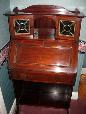 Vintage Mahogany Writing Bureau With Leaded Light Doors & Key For Desk