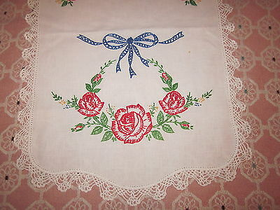 Lovley red rose embroidered crocheted edge table runner 14x42