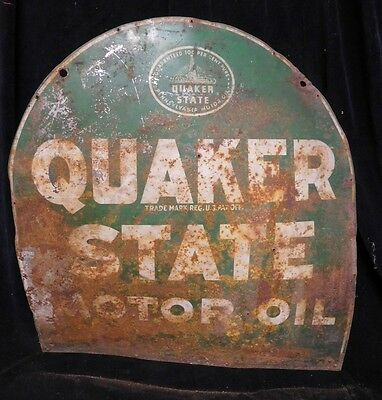 Original (1950's) QUAKER STATE MOTOR OIL * TOMBSTONE  2-SIDED SIGN not PORCELAIN