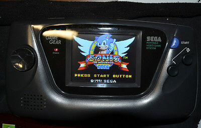 Sega Game Gear with modern LCD fitted new capacitors new glass lens and 4 games