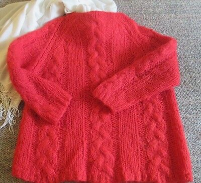 Vintage Italian Mohair sweater, 3/4 sleeve, warm and cosy Bright Red 70's