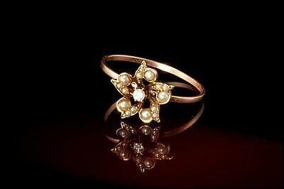 Antique Victorian 10K Gold Diamond Seed Pearl Flower Ring  (120416042)