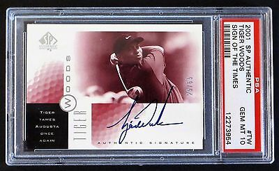 SN 25/65 (POP 6) RARE 2001 SP Authentic Tiger Woods Sign of the Times Red PSA 10