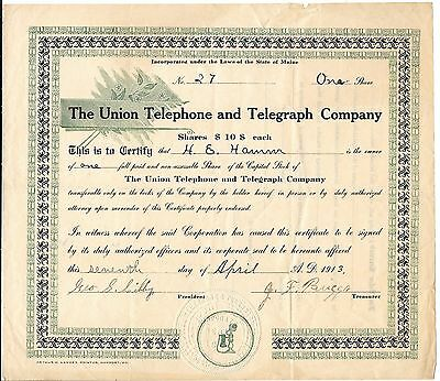 1913 The Union Telephone and Telegraph Company Stock Certificate Maine