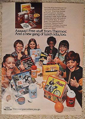 1977 Thermos Lunch Box Original Color Ad Fonzie King Kong Snoopy Rocky NFL