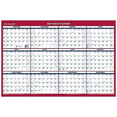 AT-A-GLANCE Wall Calendar 2017 Erasable Reversible Vertical/Horizontal Planne...