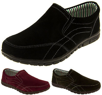 Ladies Coolers Real Suede Casual Slip On Comfort Trainer Shoes Sizes 4 5 6 7 8