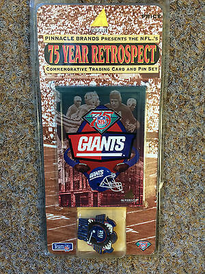 Nfl 1995 Pinnacle New York Giants 75 Year Retrospect Pin Badge And Card Set